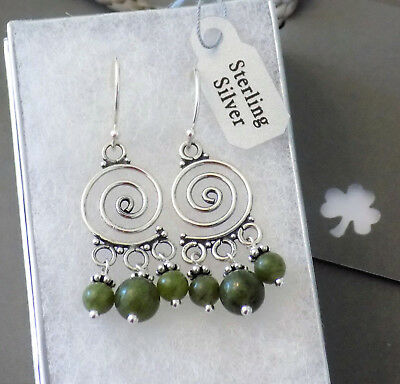 Small Irish Connemara Marble Celtic Spiral Earrings ☘ Solid 925 Sterling Silver