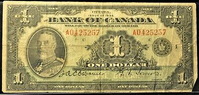 1935 Bank of Canada $1 Note. ITEM B28