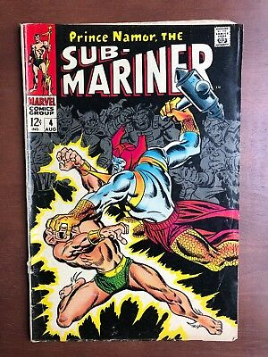 Sub-Mariner #4 (1968) 3.0 GD Marvel Key Issue Comic Silver Age Cover Off Stan