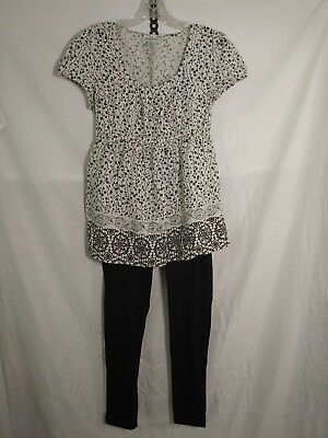Maternity Outfit medium casual motherhood top old navy stretch  pants EUC