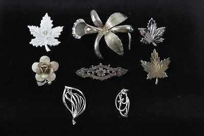 8 x Vintage .925 Sterling Silver BROOCHES inc. Maple Leaf, Floral, Bar (24g)