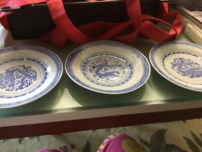 3 vintage blue and white Chinese porcelain 15cmside plates VGUC Surplus to need