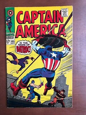 Captain America #105 (1968) 7.5 VF Marvel Key Issue Comic Silver Age Jack Kirby