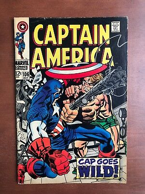 Captain America #106 (1968) 7.5 VF Marvel Key Issue Comic Silver Age Stan Lee