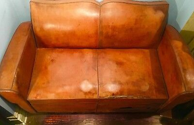 Antique French Leather Club Couch/pull-Out Bed/from Paris