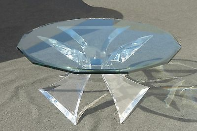 Designer Signed Lion in Frost Triple Butterfly Lucite and Glass Coffee Table