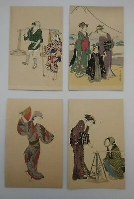 Japanese Postcards Group Of 4 With Hand Coloring Shimbi Shoin Tokyo 1930s unused