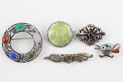 5 x Vintage .925 Sterling Silver Stone Set BROOCHES inc. Multi Gemstone (29g)
