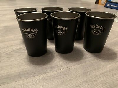 6 Original JACK DANIELS Whisky No.7  Metallbecher  Alu Becher Neu