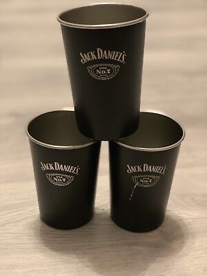 3 Original JACK DANIELS Whisky No.7  Metallbecher  Alu Becher Neu