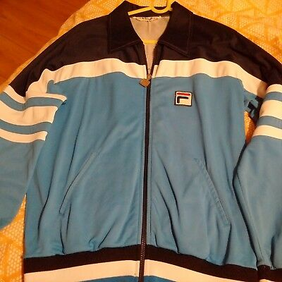 1980s Fila Vilas Made in Italy Track Top in Blue Combo Large BJ Borg