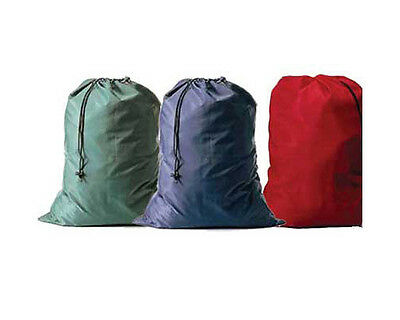 Lot of 3 Red and 3 Green Color Heavy Duty Jumbo Size Nylon Laundry Bags 30x40""