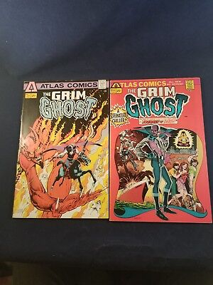 The Grim Ghost #1,2 (1975) Atlas Comics Fine Plus Glossy Off White Cheapest Lot