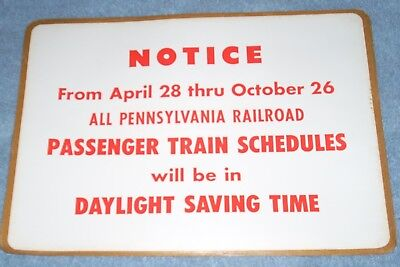 PENNSYLVANIA RAILROAD Large Sticker Time Change Passenger Train Schedules