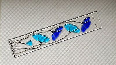 Stained Glass Cobalt Blue And Turquoise Blue Floral Handmade Fused Suncatcher