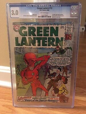 Green Lantern 13 CGC 3.0 OW 1962 KEY 1st Silver Age Flash crossover 1st reveal