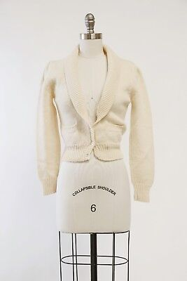 Vintage 80s 40s cream wool knit cardigan S