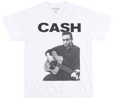 Johnny Cash Guitar White T-Shirt Mens Signed Tee Artist 100% Authentic NWT