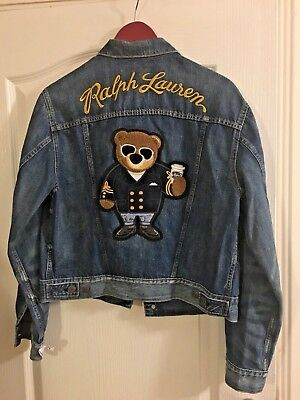 Polo Unisex Teddy L £359 Ralph Lauren Denim Jacket Bear Embroidered Iconic Men's dCxerBoW