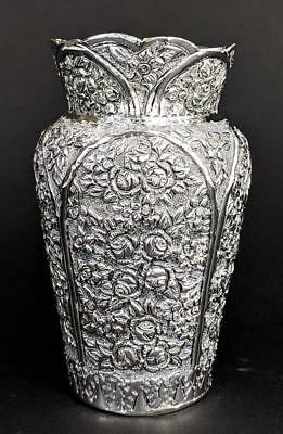 OTTOMAN TURKISH STYLE SILVER PLATED REPOUSSE VASE c1920's