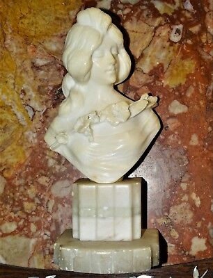 Italian Antique Art Nouveau Carved Alabaster Bust Of Beautiful Lady With Floral