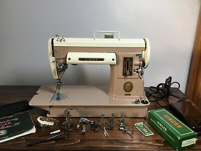 Singer 301A Short Bed Slant Needle Sewing Machine with Case and Attachments