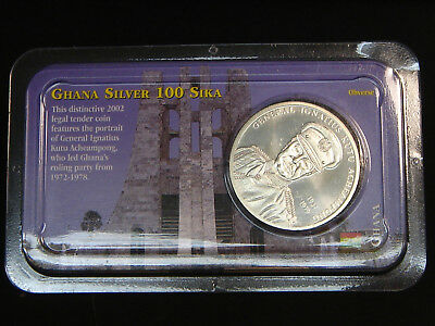 2002 Ghana 100 Sika 1 oz Sterling Silver Crown General Ignatius Kutu Acheampong