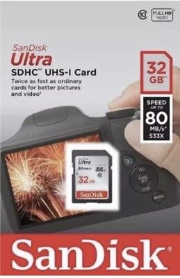 SanDisk  32GB Ultra SDHC SD Card Class 10 UHS-I Memory Card 80MB/S For Camera