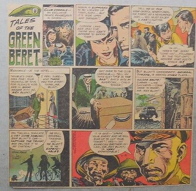 Green Beret Sunday by Joe Kubert from 6/18/1967 Trimmed Tabloid Size Page !