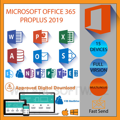 Microsoft Office 365 PROPLUS MAC - WINDOWS 5Users x 15 Devices PCs Tablets Phone