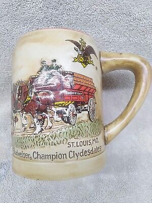 1980 Budweiser Holiday Clydesdales Beer Stein MugCs19