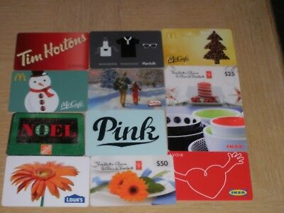 Canada Miscellaneous   12 different new collectible gift cards
