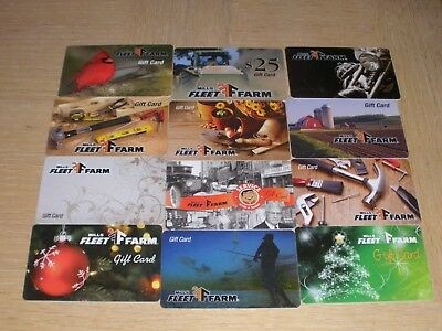 Mills Fleet Farm   12 different new collectible gift cards