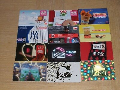 Dunkin' Donuts and Taco Bell   12 different new collectible gift cards