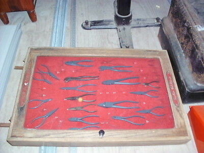 Antique Vintage Utica more tool mileage cabinet w/ 18 pairs pliers snap on plomb