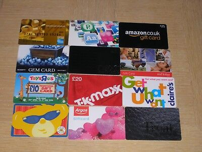 UK  Miscellaneous   12 different new and used collectible gift cards