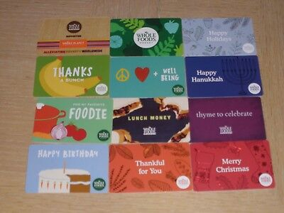 Whole Foods.   12 different new collectible gift cards