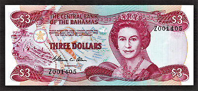 Bahamas 3 Dollars REPLACEMENT Prefix - Z 1974 ND (1984) Pick-44r Crisp UNC