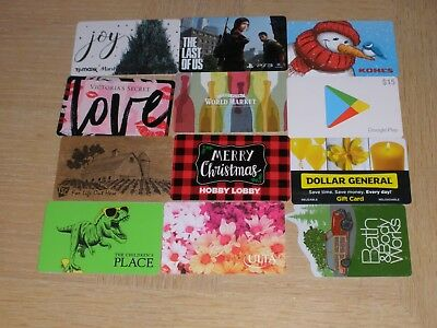 Miscellaneous   12 different new and used collectible gift cards
