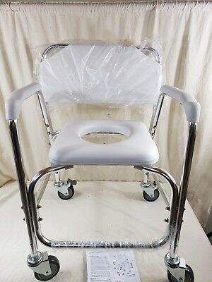 DMI Shower Transport Chair, Commode for Toilet, with Wheels, Rolling Padded Seat