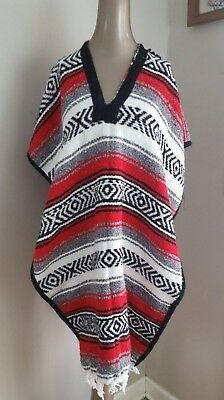 JFR Woven Mexican Knit Poncho Red/Black/White Unisex One Size