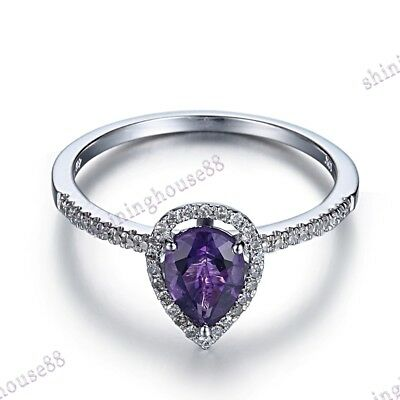 Jewelry & Watches Solid 10k White Gold Generous 9mm Amethyst Engagement Wedding Ring Fine Jewelry Fine Jewelry