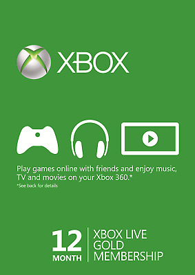 Microsoft 12 Month Xbox Live Gold Membership Subscription Quick Email Delivery