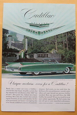 """Cadillac """"V"""" and Crest Emeralds Diamonds by Van Cleef...  Magazine Print Ad 1960"""