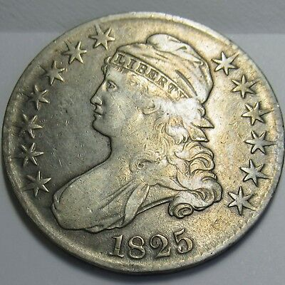 1825 O-103 Lettered Edge Capped Bust Half Dollar - Very Fine, R4
