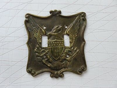 Vintage Brass Metal Double Toggle Light Switch Plate Cover USA EAGLE