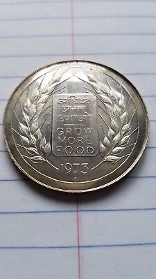 """1973-B India, Silver Proof 20 Rupees, F.A.O. """"Grow More Food"""" Commemorative"""