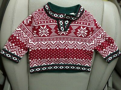 Ll Bean Infant Nordic Snowflake Sweater Size 3-6 Mo 100% Cotton Orig $34 New Nwt