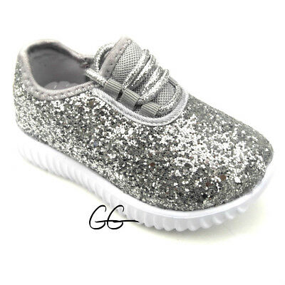 Youth Kids Girls Sneakers Tennis Glitter Shoes Size 11-2