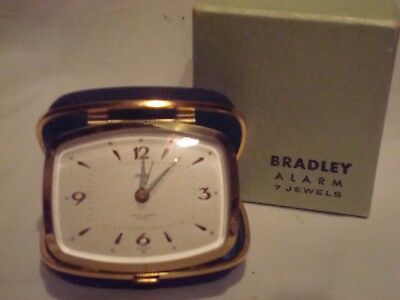 Vtg. Bradley Travel Alarm Clock - 7 Jewels- Germany- Org. Box- Ex, Cond.-Works